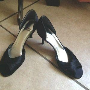 Stuart Weitzman Black Satin Peep Toe Heels 8B